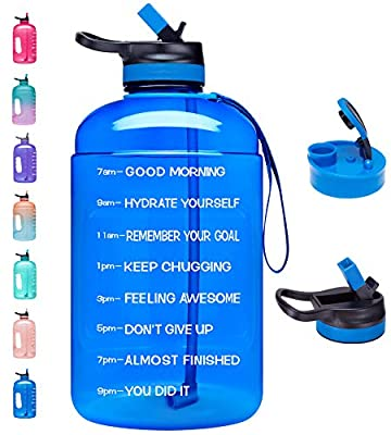 Venture Pal Large 1 Gallon Motivational Water Bottle with 2 Lids (Chug and Straw), Leakproof BPA Free Tritan Sports Water Jug with Time Marker to Ensure You Drink Enough Water Throughout The Day-Blue