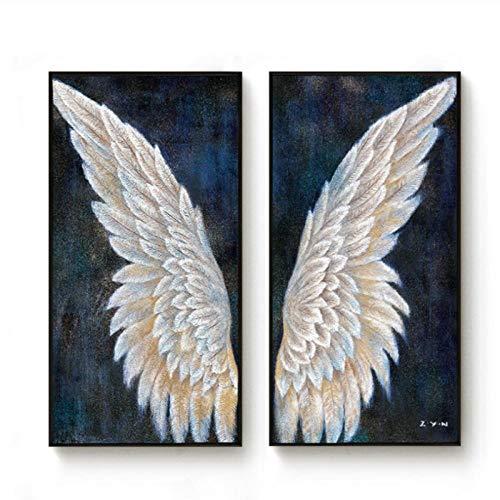 LLXHGGroße Leinwand Wandkunst Vertikale Vintage Engel Flügel Moderne Malerei Wohnzimmer Dekoration Wandbild Home-40X80Cmx2 Kein Rahmen