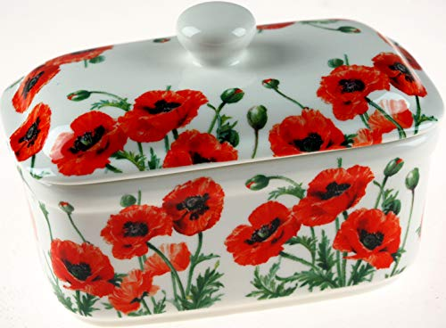 The Leonardo Collection - LP93777 - Beurrier en porcelaine fine - Motif : Champ de coquelicots - Multicolore - 17 x 10 x 11 cm