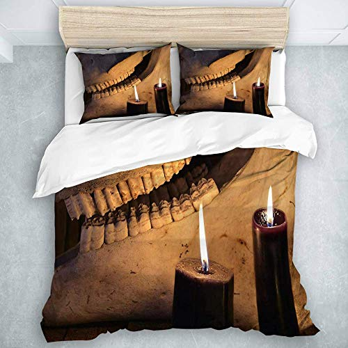 Duvet Cover Set, Horror Halloween and Black Magick Concept Scary Teeth of Horse Skull and Two Black Candles, Luxury Guestroom Decor 3 Pieces