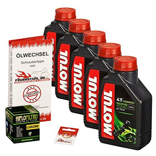 Motul 10W-40 Öl + HiFlo Ölfilter für Suzuki VS 1400 Intruder, 87-03, VX51L - Ölwechselset inkl. Motoröl, Chrom Filter, Dichtring