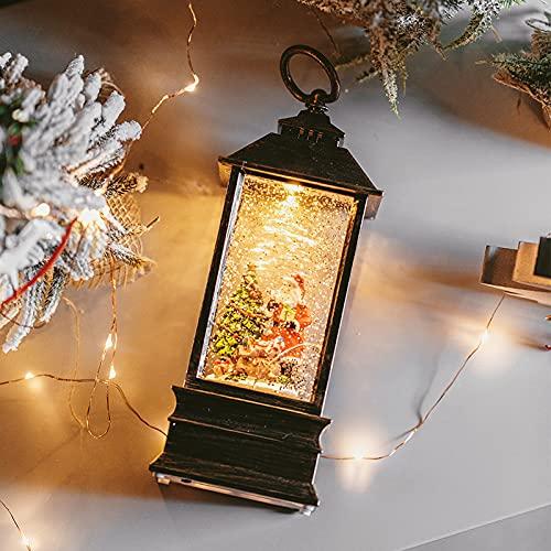 Decoraciones de Navidad,Linternas solares para el jardín,Caja de música copo de nieve Caja de música Bola de cristal Navidad Hombre viejo muñeco de nieve Árbol de Navidad Decoración de luz Adornos