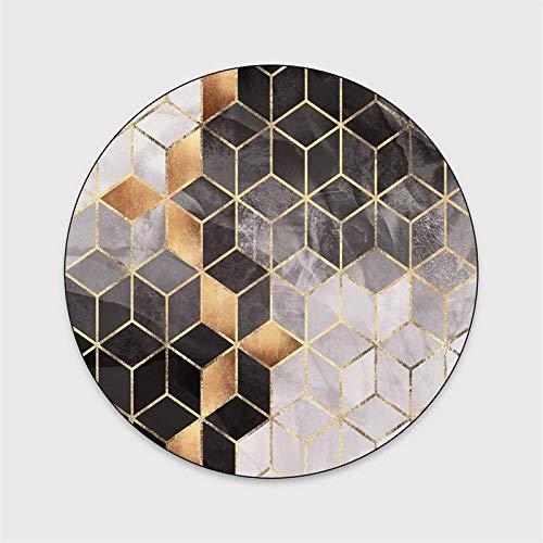WIVION 3D-Geometrie Runde Teppich Teppiche Für Wohnzimmer Home Decor Bodenteppich Für Kinder Schlafzimmer Computer Stuhl Teppiche Antirutsch-Matten,160cm