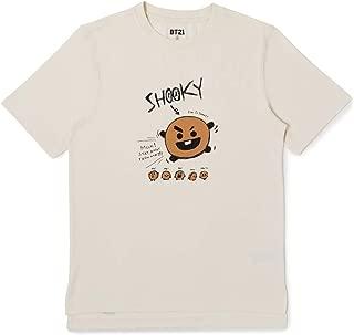 BT21 Official Merchandise SHOOKY Character Unisex Doodling Lettering Artwork Graphic T-Shirt, Large, Ivory