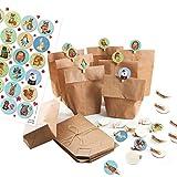 Logbuch-Verlag 24 kleine Adventskalender zum Befüllen Set: Papiertüten + 1-24 Aufkleber + KLAMMERN – Tiere Weihnachten bunt blau grün Basteln DIY Kinder