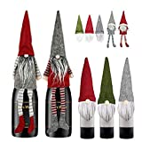 Christmas Gnomes Wine Bottle Cover,5 Pack Handmade Swedish Gnome Wine Bottle Toppers Decorative Santa Christmas Decorations Holiday Dining Table Decor Party Gift