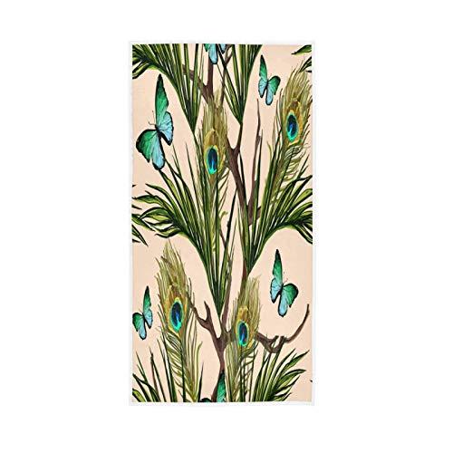 PIXIUXIU - Toallas de mano de secado rápido, de plumas de pavo real, ojo de mariposa, absorbentes, suaves, gruesas, absorbentes, para uso diario, 76 x 15 pulgadas