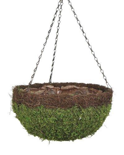 Super Moss (29205) MossWeave Hanging Basket - Round, Fresh Green with Wicker Rim, Large (16.5 Diameter)