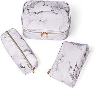 Marble Makeup Bag 3 Pack Portable Waterproof Toiletry Bag Cosmetic Bag Make up Organizer Brushes Holder Travel Storage Cas...