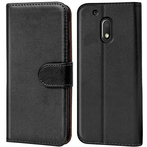Verco Moto G4 Play Hülle, Handyhülle für Motorola Moto G4 Play Tasche PU Leder Flip Hülle Brieftasche - Schwarz
