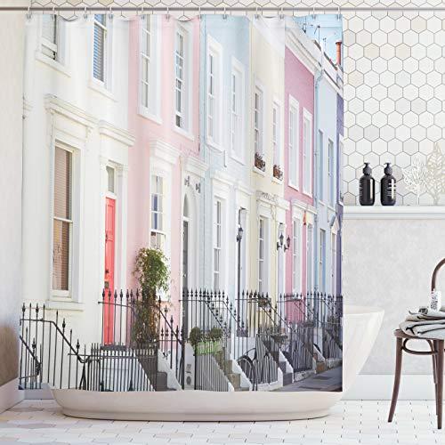 ABAKUHAUS Ciudad Vieja Casas Cortina de Baño, Londres Color en Colores Pastel, Material Resistente al Agua Durable Estampa Digital, 175 x 240 cm, Multicolor