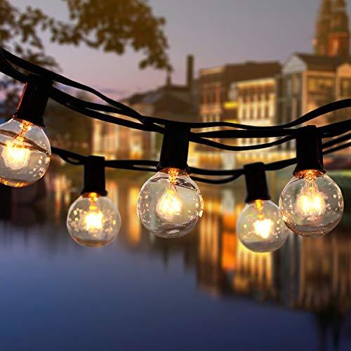 ROVLAK Guirnaldas Luminosas de Exterior Cadena de Luz Impermeable 25 + 4 Reemplazo de la Lámpara G40 Decoración Luz Interior para Casa, Jardín, Fiesta, Boda, Halloween y Navidad, Amarillo Cálido