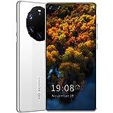 FJYDM Teléfono Móvil, Teléfonos Inteligentes Desbloqueados, Teléfono Android 10 con Doble SIM De Pantalla Completa De 7.1 Pulgadas, 5600 Mah, Desbloqueo Facial,Blanco