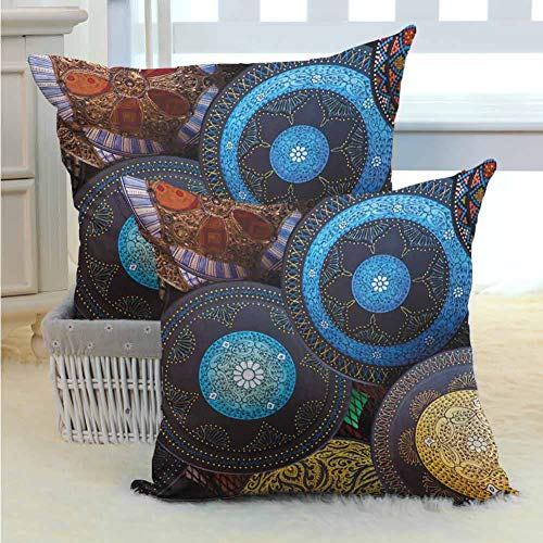 Moroccan Pillow Cover Handcrafts Shot at the Market in Morocco Antiquity Tradition Old Touristic Places Multi Color Bright Hypoallergenic for Sofa Couch Home Outdoor Decor 2PCS Multicolor -