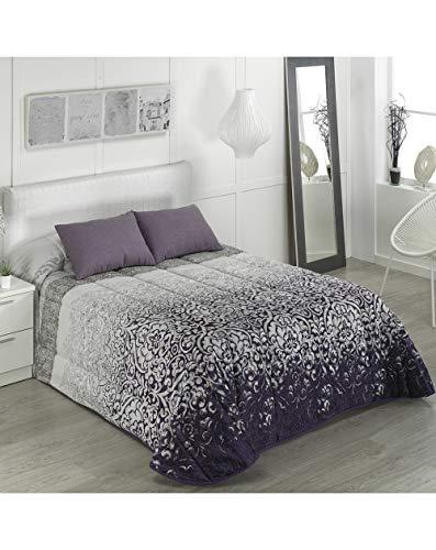 Camatex - Conforter Gloria Cama 150 - Color Morado (edredón de Acolchado Grueso época de frío con Cintas y Botones como Sistema de Ajuste)