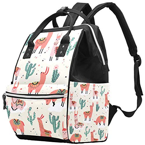 Llama Wickeltasche Kakteen Herzmuster große Kapazität Handtaschen Canvas Schulterrucksack Wickeltasche für Babypflege mehrfarbig09 27x19.8x36.5cm/10.6x7.8x14in