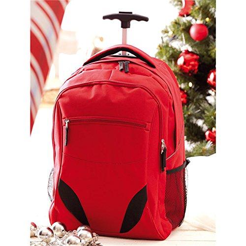 Vertrieb durch Preiswert & Gut Rucksack Trolley rot Daypack mit gepolstertem Laptopfach 34x52x28cm Rucksack mit Rollen mit 2 seitlichen Netzfächer