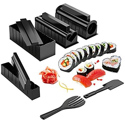 BEAUTYBIGBANG 10PCS Kit Sushi Maki Complet, Cuisine Machine Sushi Maker Ustensiles avec Couteau + Tapis Rouleaux pour Faire des Makis/Sushis Bien Ronds