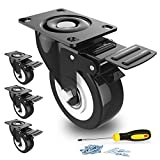 """2"""" Swivel Caster Wheels with Safety Dual Locking and Polyurethane Foam No Noise Wheels, Heavy Duty - 150 Lbs Per Caster (Pack of 4)"""