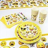 Kompanion 81-teiliges Party-Set Emoji Kindergeburtstag Partydekoration - Pappteller, Tassen, Servietten, Tischdecke und Bonus Emoji Aufkleber, Geburtstagsfeier Zubehör für 20 Kinder - 8