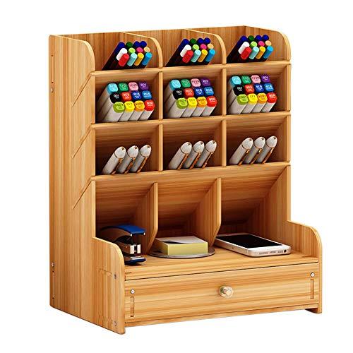 YUOKI99 Holz Schreibtisch Organizer, Holz Stifthalter Box Multifunktionale Schublade Briefpapier Desktop-Aufbewahrungsbox Schreibtisch Ordentlicher Stifthalter für Zuhause, Büro und Schule