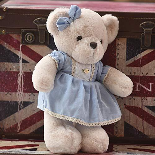 Pluche Pop Teddybeer Teddy verkoopt schattige kleding, kleine beer pop, meisje knuffels beer pop, pop op bed-blauwe rok prinses beer _40cm
