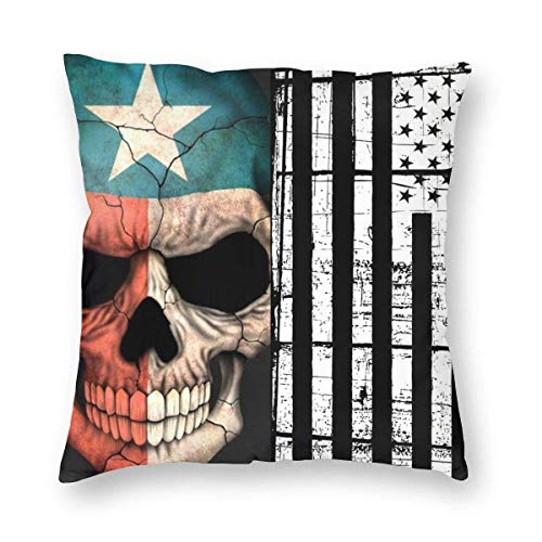 Mackinto Texas Flag Skull Decorative Square Throw Pillow Cases Soft Soild Cushion Cases for Sofa Bed Chair 18 X 18 in
