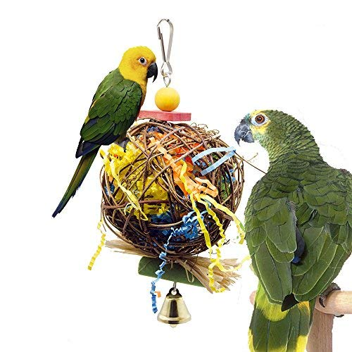 Bird | PINCHUANG SHANTU 2 Pack Bird Chewing Toys Foraging Shredder Toy Parrot Cage Shredder Toy Foraging Hanging Toy for Cockatiel Conure African Grey amaozn shap2, Gym exercise ab workouts - shap2.com
