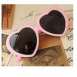 華揚 ファッション かわいい 特大ハート型 プラスチックフレーム レトロサングラスメガネ(ピンク)