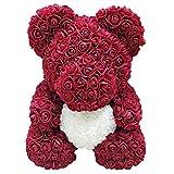 ahanzhu Oso de Rosa Artificial Flor eterna para Siempre Rosa para Aniversario Regalo de San valentín de Navidad Oso Rosa Oso de corazón de 25 cm
