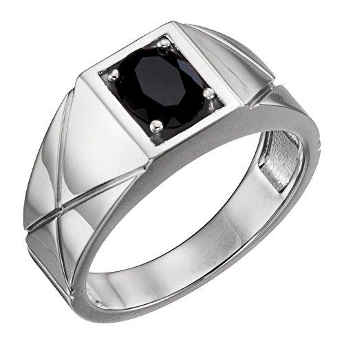 JewelryWeb Herren-Ring 14 Karat (585) Weißgold poliert, Onyx, Größe V 1/2