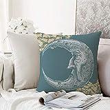 Kissenhülle Super Weich Home Decoration,Mond, Vintage Crescent Moon mit mürrischen...
