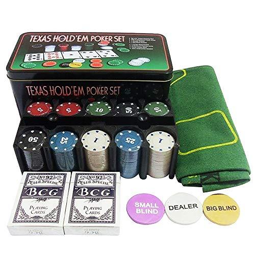 Lixada200 Piezas Juego de Póquer Texas Hold'em con Tarjetas de Cubierta de Fichas y Caja de Regalo