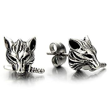 Rock Punk Mens Wolf Head Sword Stud Earrings in Stainless Steel 2 Pcs