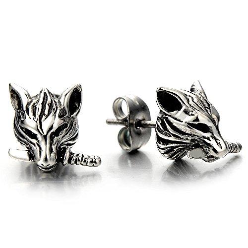 Rock Punk Mens Wolf Head Sword Stud Earrings in Stainless Steel, 2 Pcs