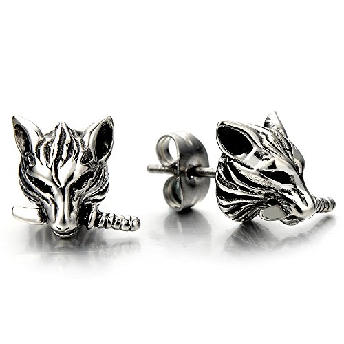 Rock Punk Mens Wolf Head Sword Stud Earrings in Stainless Steel, 2 Pcs