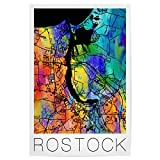 artboxONE Poster 30x20 cm Städte Retro Map of Rostock