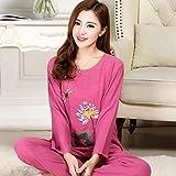 Handaxian Novedad Pijama de algodón Verde Conjunto Pijama Estampado Flor Conjunto 2 Piezas Pijamas Servicio a Domicilio de Verano