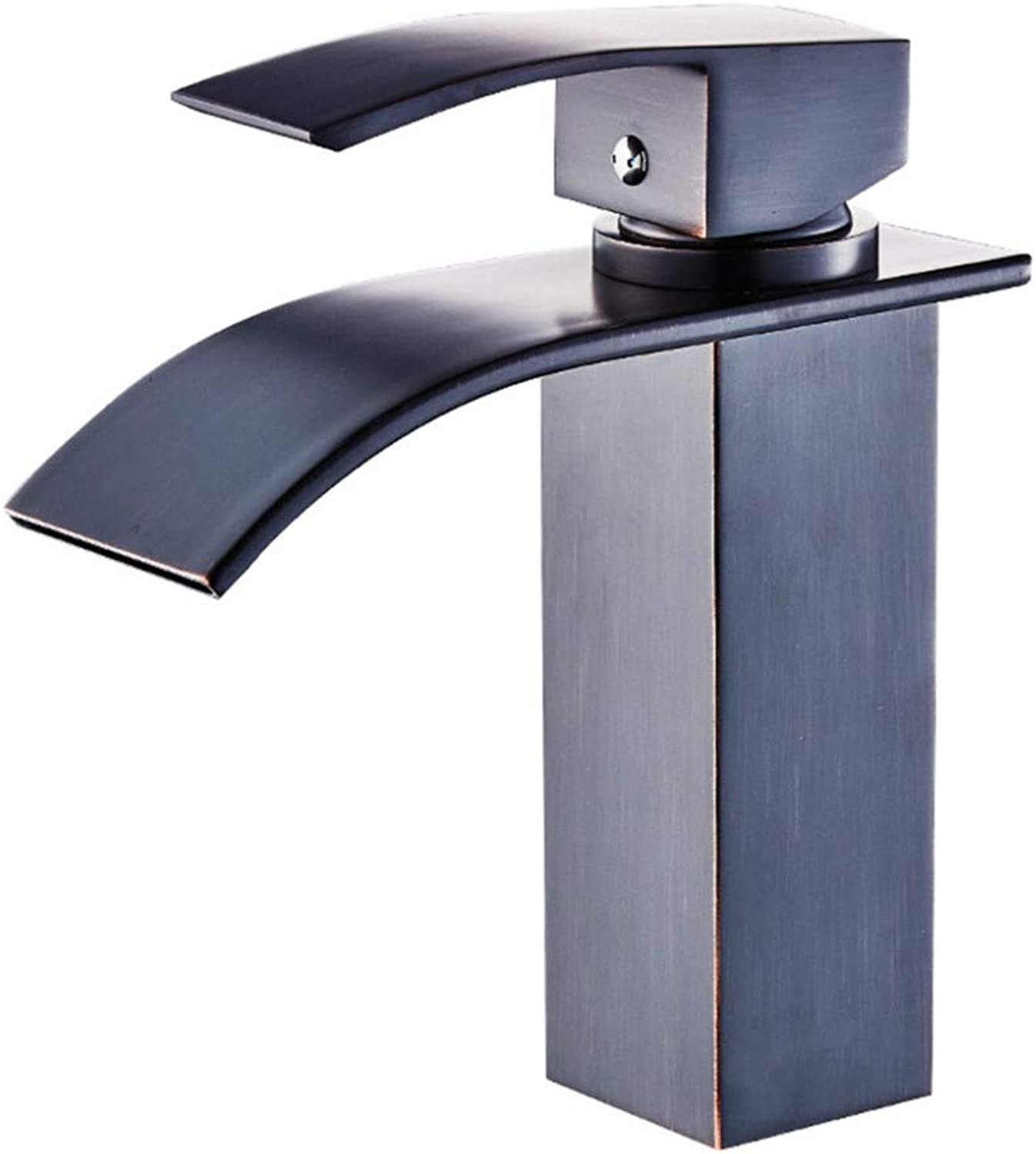 AINILX bathroom accessories Copper Black Bronze Square Faucet, Basin Hot And Cold Faucet, Washbasin Faucet, Waterfall Faucet