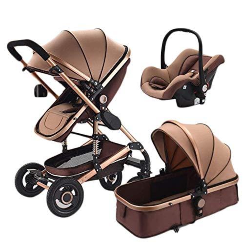Cochecito de bebé multifunción 3 en 1 Altura ajustable Gas anti-escape Cochecito de bebé de alta visión Almacenamiento plegable Cochecito de bebé de viaje Amortiguación cómoda Sillas de paseo seguras