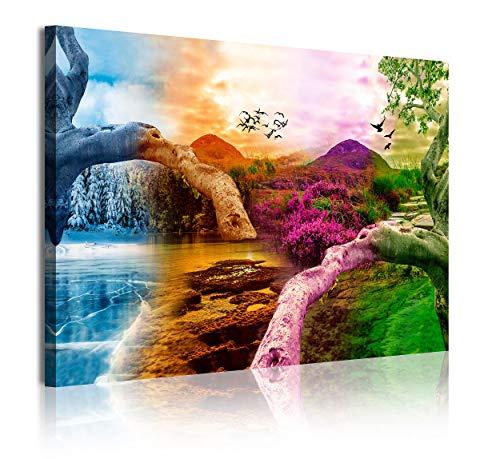DekoArte 367 - Cuadros Modernos Impresión de Imagen Artística Digitalizada | Lienzo Decorativo Para Salón o Dormitorio | Estilo Paisaje Cuatro Estaciones del año Montañas Árboles | 1 Pieza 120x80cm