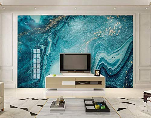Natural Turquoise Green Marble Stone Wallpaper Light Luxury TV Background Wall Painting Marble Wallpaper Design Mural Paper Living Room Peel and Stick - Custom Color