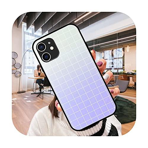 Funda del teléfono para el iPhone 12 11 mini pro max se XS XR X 4 5 6 6S 7 8 más negro cubierta coque 3D hoesjes lujo cubierta Grid-N9-iPhone XS MAX