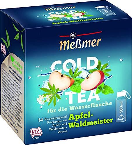 Meßmer Cold Tea Apfel-Waldmeister | Belebe dein Wasser mit dem spritzigen Geschmack | ohne Zucker | ohne Kalorien | Alternative zu zuckerhaltigen Getränken wie Limonade oder Saft | 14 Pyramidenbeutel