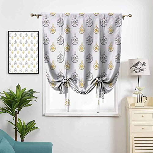 Roman Curtains for Small Window Watercolor Windrose Design Vintage Maritime W39 x L64 Light Blocking