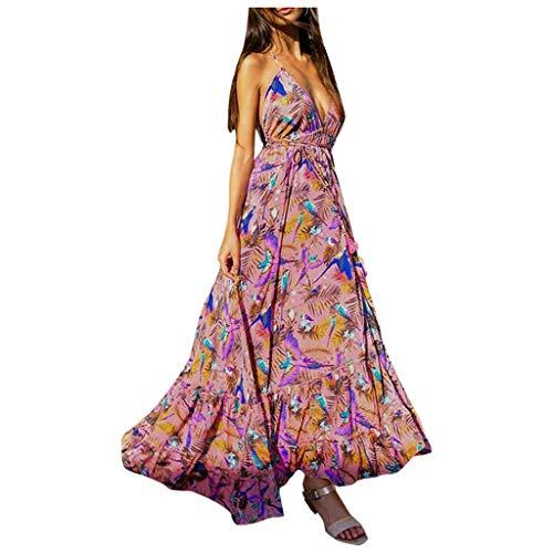 Sloater Kleid Damen ärmel Festlich, Rückenfreies Kleid Frauen Blumen Sexy Sleeveless Deep V Neck Print Tunika Elegant Beach Party Langes Kleid Bohemian