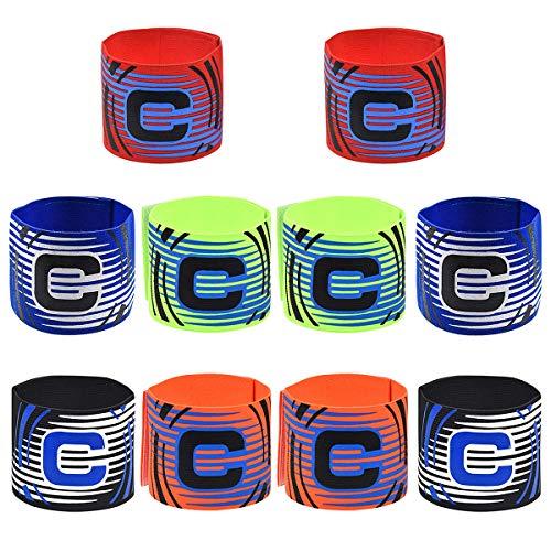 JEANGO Brazalete de Capitán de Fútbol, Adulto y Juvenil Banda de Capitán de Fútbol para Fútbol Rugby Hockey y Otros Deportes (5 Colores 10 PCS)
