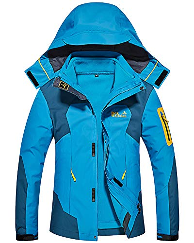 Shengwan Winter Jacke Damen 3 in 1 Wasserdicht Wanderjacke Outdoorjacke Sport Regenjacke Funktionsjacke Doppeljacke mit Kapuze Blau XS