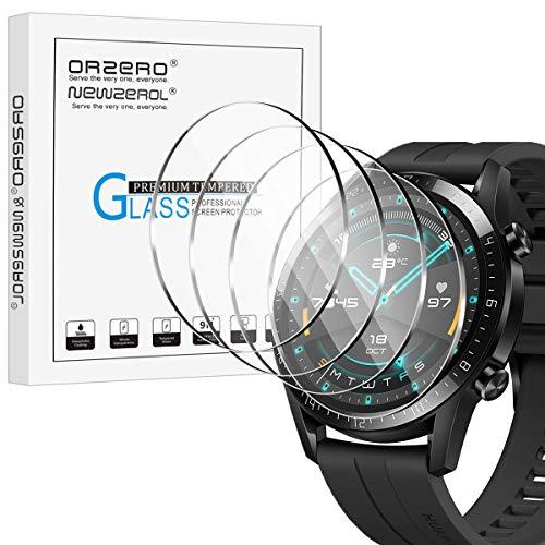 NEWZEROL 4 stück Panzerglas kompatibel für Huawei Watch GT 2 46mm Schutzfolie(Nicht für GT/GT 2e) 2.5D Arc Edges 9H Glas Bildschirmschutz Anti-Kratzer blasenfrei Schutzfolie - Klar