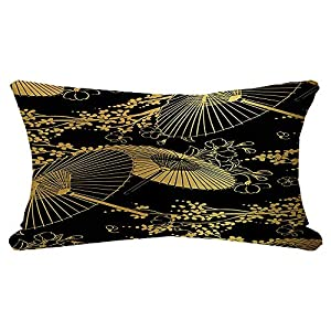 Decorative Throw Pillow Cover Luxury Silk Fan Summer Flower Asian Blossom Unbrella Japanese Symbol Chinese Rich Textile Textures Pillow Sham Pillowcase Cushion Case for Sofa Bedroom 12×20 Inch